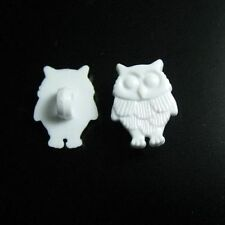 20 Owl Bird Flying Kid Novelty Shank Sewing Buttons Cardmarking 16mm White K99