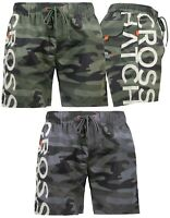 Mens Crosshatch Camo Swim Shorts Casual Beach Camouflage Swimming Trunks Lined