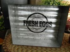 "Galvanized FRESH EGGS Tray 8"" x 6"" Primitive Country Farmhouse"
