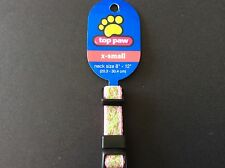 """Top Paw Dog Collar with Pink and Green Pattern X-small 8""""-12"""" neck size"""