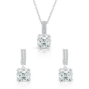 .925 Sterling Silver Square Cz Necklace and Earrings Set Elegant Bridal Jewelry