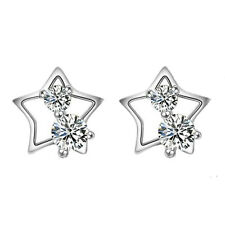 925 Sterling Silver Star Crystal Stud Earrings Womens Jewellery Valentine Gift