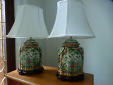 Pair of table lamps Chinese Rose Medallion Porcelain pattern cloth shades