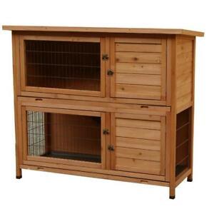 2 Ebenen Hasenstall Kaninchenstall Kleintierstall Kleintierhaus für Kaninchen