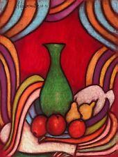 Superbe grand pastel Abstraction et Nature morte signé R Revaute Abstrait 1981 .