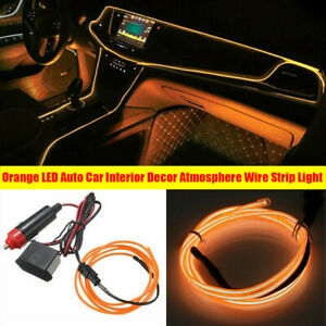 Orange LED Auto Car Interior Decor Atmosphere Wire Strip Light Lamp Accessories