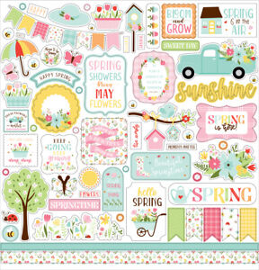 (1) 12x12 Sheet of Echo Park Paper WELCOME SPRING Scrapbook Element Stickers