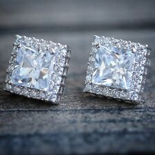 Mens Ladies White Gold Over Silver Square Micro Pave Diamond Stud Earrings