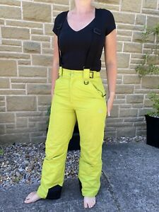 Trespass Ski Sallopettes Trousers XS Womans With Braces Green Breathable Waterpr