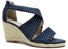 Ellen Tracy Blue Polka Dot Wedge Espadrille Sandals Heel 6.5M MSRP $199