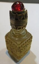 Mini flacon à parfum ceinturé décoration plaqué or et perle de verre rouge -