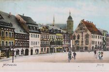 29841 AK Mittweida Markt mit Läden Häusern und Kirche 1907