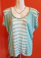 Anthropologie Striped T tee Braided Neckline, Blue and white stripe, Size XS