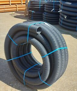 Perforated Land Drain Pipe 100mm x 25 meter Coil Land Drainage 25m Flexible