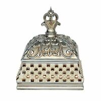 Primrose Lidded Box  Silver Crystal Flower Canister Decorative jewelry Box