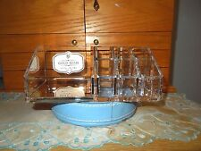 ISAAC JACOBS ACRYLIC COSMETIC ORGANIZER W/ROSE GOLD ACCENT- NEW IN BOX