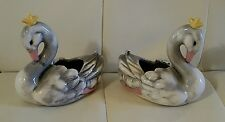 Set of 2 Vintage Swan ducks mini planters figurines collectible decor