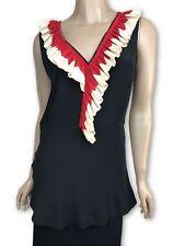 Marni New Sz 38/4 Black Silk Sleeveless Top Blouse Red & White Ruffled NWT $1290