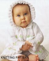 ( 421) Baby Cardigan Copy Knitting Pattern and Bonnet, Sweet Design in DK yarn