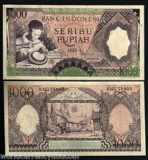 INDONESIA 1000 RUPIAH P62 1958 *REPLACEMENT* SILVER PLATE AU CURRENCY MONEY NOTE