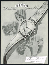 1950 Vintage Recta Grand Prix Wrist Watch Watchmaking Factory Photo Art Print AD