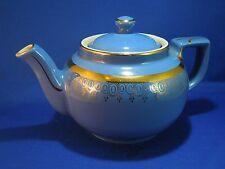 Vintage Hall 6 Cup Gilded Ceramic Porcelain Tea Pot Blue Fine China