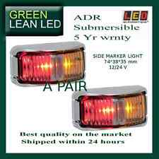 2 x AMBER RED MARKER LIGHT SUBMERSIBLE CLEARANCE LAMPS TRUCK TRAILER 12/24V LED