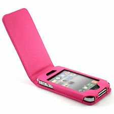 New Hot Pink Leather Flip Case Cover + Screen Guard for Apple iPhone 4S 4 4G
