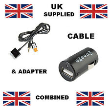 iPhone ipod USB & Aux cable includes 12v to 5v USB Adaptor in Black