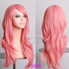 Free Post Wigs Long Layer Wavy Hair Full Wig Cosplay Costume Amine Wig Pink bb