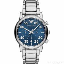 Emporio Armani Mens Luigi Silver Tone Blue Dial Chronograph Watch AR11132 NWT