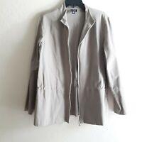 Eileen Fisher Womens Size Large Light  Zip Up  Cotton Blend Jacket Stretch waist