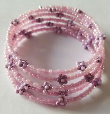 New Handmade Pink Orchid Lilac Purple Flower Beaded Memory Wire Bracelet Bangle
