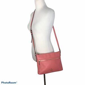 Kate Spade Jackson Street Gabriele Leather Crossbody Bag Coral Pebble