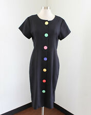 Vtg 90s Black Rainbow Button Front Shirt Dress Size 8 Short Sleeve Cute Retro