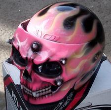 Motorcycle Helmet Girls Skull Death Visor Flip Up Pink Ghost Rider Full Face NEW