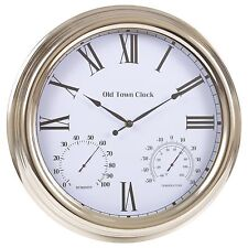 Reloj De Pared Large 40cm Metal Al Aire Libre Humedad y Temperatura Calibre números romanos