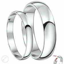 New His & Hers Palladium 3 & 5mm D Shaped Wedding Rings