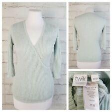 Twik Simons M Ice Blue 3/4 Sleeve Ribbed Faux Wrap Sweater Cotton Modal Blend