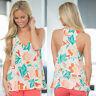 Women Summer Sleeveless V Neck Tank Tops Floral Casual Blouse Vest T-Shirt CHK