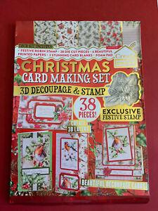 3D Decoupage & Stamp Festive Cardmaking Kit.  38 piece Christmas card making set
