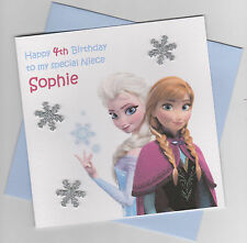 Personalised Handmade Frozen Birthday Card - Daughter, Sister, Niece etc