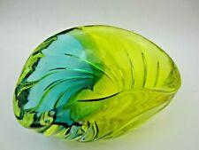 Archimede Seguso yellow & green vetro a costa art glass bowl, Murano c50s RARE