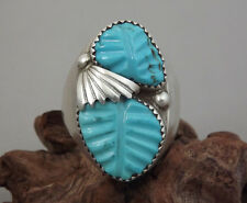 Vintage Zuni Sterling Silver Hand Carved Turquoise Ring OTHOLE Signed Sz 13.5