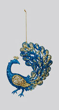 KURT S. ADLER ACRYLIC PEACOCK TEAL & GOLD GLITTER w/ TAIL UP CHRISTMAS ORNAMENT