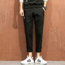 Ribbon Pocket Man's Fashion Ninth Pants - Black