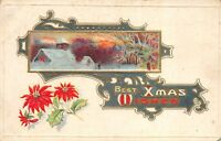 Christmas Best Xmas Wishes 1918 Embossed Postcard Poinsettias Snow Scene