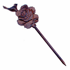 "Decorative Garden Hose Guide Bird On Rose Cast Iron Flower Bed Stake 12.5"" T N"