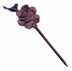 """Decorative Garden Hose Guide Bird On Rose Cast Iron Flower Bed Stake 12.5"""" T N"""