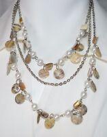 Premier Designs Retired Coastal Necklace Shell Abalone Silver Tone New in Box